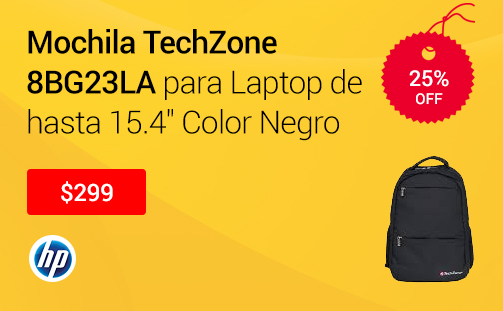 Mochila TechZone 8BG23LA para Laptop de hasta 15.4 Color Negro