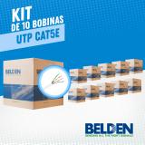 KIT DE 10 BOBINAS DE CABLE UTP CAT5E BELDEN 5663U5 009U1000 BLANCO 24AWG ESPECIAL PARA SEGURIDAD 1000FT 305 MTO