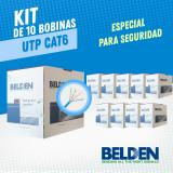 KIT DE 10 BOBINAS DE CABLE UTP CAT6 BELDEN 5663U6 006U1000 AZUL 305MTS CMR